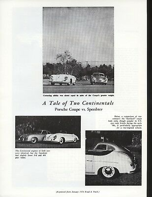 Road & Track Article Reprint from January 1956 -- Porsche Coupe vs Speedster --