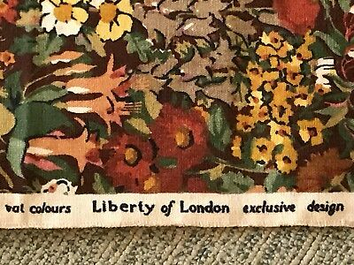 Vintage Liberty Of London Cottage Garden Fabric Linen c.1970s Unused