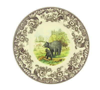 Spode Plates Woodlands Collectable Earthenware Lunch Dinner Black Bear Wildlife