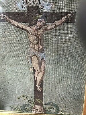 Antique Serpents Orthodoxy Beadwork Picture JESUS Skull Snakes Glass Crucifixion