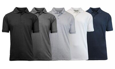 NEW Galaxy by Harvic 5 PACK Pique Polos White Gray Black Navy Solid Sz L