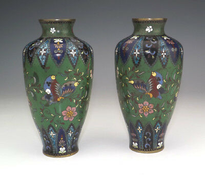 Antique Pair Of Japanese Cloisonne - Oriental Butterfly & Flower Decorated Vases