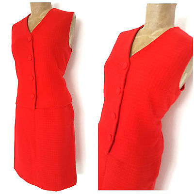 7242c75f8006 Vintage 60s Rockabilly Wool Pinup Pencil Dress Size Medium Red Skirt Suit  Mini