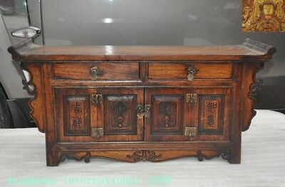 "China Boxwood Wood Hand carved ""吉祥如意"" Ancient Lockers cabinet drawer desk table"