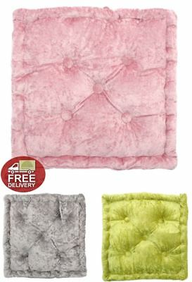 Luxurious Crushed Velvet Seat Chair Pad Cushion Pillow Box Square Glam Shine