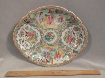 """Antique Chinese Export Rose Medallion Shaped 11"""" Tray / Plate / Dish"""