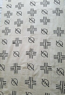"""Authentic African Handwoven Bambara Green Mud Cloth Fabric From Mali Sz 63"""" x 40"""