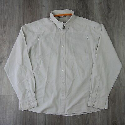 Vintage Mens Arc'Teryx Long Sleeve Small Check Button Shirt L Merlon Beige
