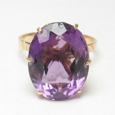 Estate 14K Yellow Gold 10.00 Ct Natural Oval Purple Amethyst Solitaire Ring