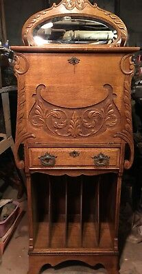Rare Oak Music Cabinet With Drop Front