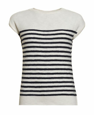 New Womens Superdry Factory Second Breton Icarus Knit Top White