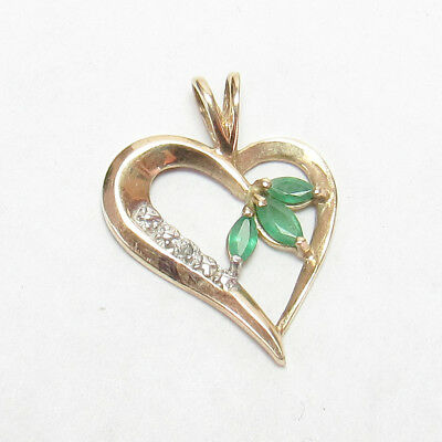 Estate 10K Yellow Gold Natural Green Emerald And Diamond Heart Pendant 0.25 Cts