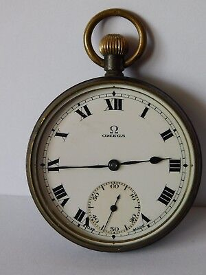 ANTIQUE GUN METAL OMEGA POCKET WATCH movement 6614943 - case  7481985