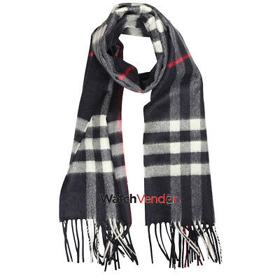 Burberry Classic Cashmere Scarf in Check - Navy