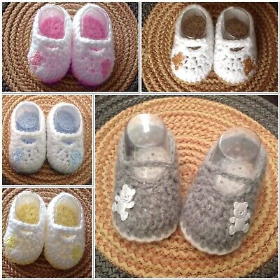 Hand Crochet Baby Boy girl teddy booties Shoes boots silver grey blue pink