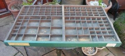 Extra large vintage French printers tray, letterpress drawer, green front