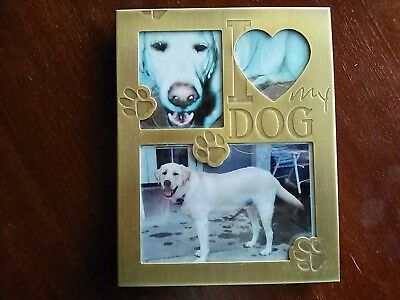 "METAL DOG FRAME  ""I LOVE MY DOG"", WHITE PICTURE FRAME for 5"" X 7"""
