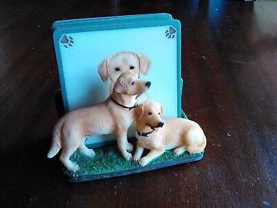 YELLOW LABRADOR RETRIEVER COASTER SET LAB and  GOLDEN RETRIEVER ORNAMENT