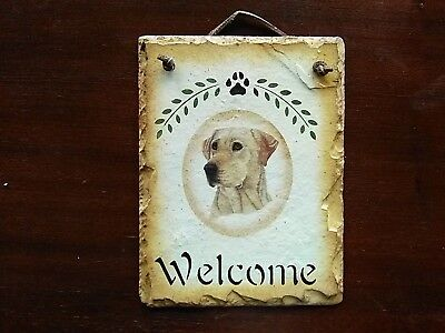 YELLOW LABRADOR RETRIEVER WELCOME SLATE and PENNANT FLAG