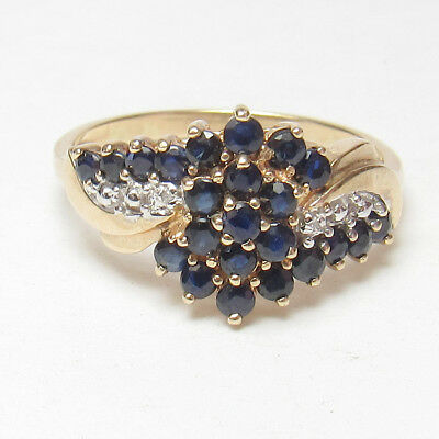 Estate 10K Yellow Gold 23 Natural Round Blue Sapphire And Diamond Ring 1.15 Cts