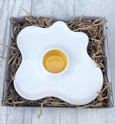 Fried Egg Shaped Ceramic Plate Novelty Gift Boxed Egg & Soldiers