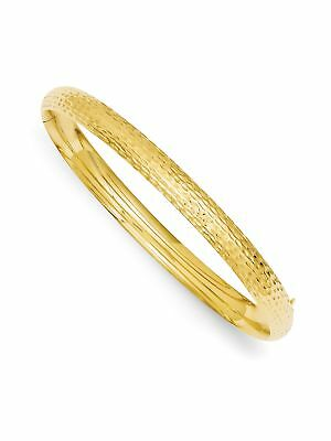 14k Yellow Gold 7mm Wide Hollow, Polished and Hammered Bangle Bracelet
