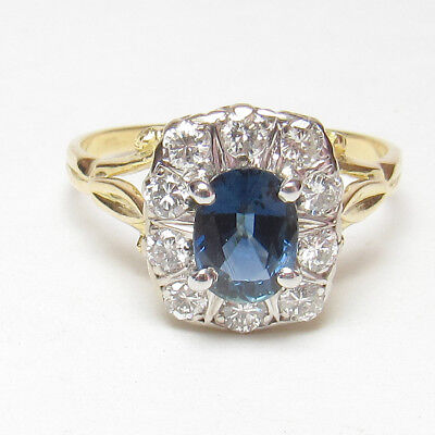 Estate 18K Yellow And White Gold 1.25 Ct Natural Oval Blue Sapphire Diamond Ring