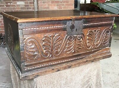 Antique Late 17th Century Charles II Carved Oak Desk Box (Chest Trunk Bible Box)
