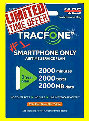 TracFone 1 Year Plan - 365 Days + 2000 minutes of talk 2000 text and 2000 Data