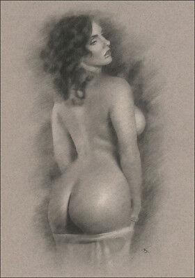 Female Nude DRAWING Charcoal Chalk ORIGINAL Art naked lady back view NO RESERVE
