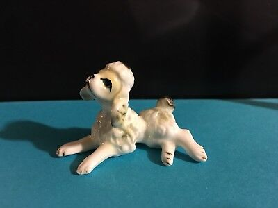 Ceramic White and Gray Poodle Figurines 2 1/4""