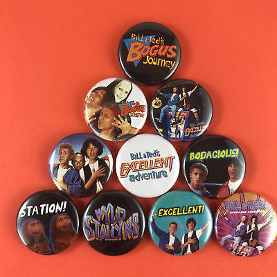"Bill and Ted 1"" Button Pin Set Bogus Journey Keanu Reeves 80's Comedy Metalhead"