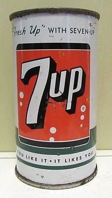 1960's Straight Steel 7 UP Soda Can Flat Top Bottom Open