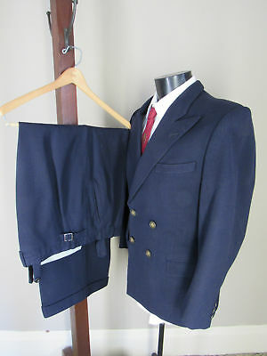 Vintage 30s Navy Striped Suit 38S 32x30 Double Breasted Jacket