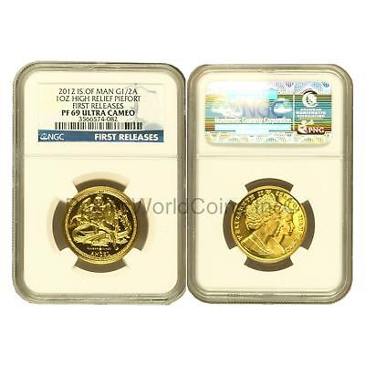 Isle of Man 2012 Angle High Relief Piedfort 1 oz Gold NGC PF69 UC FR SKU#6295