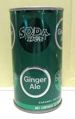 1960's Straight Steel Soda Hut Ginger Ale Soda Can Pull Tab Bottom Open