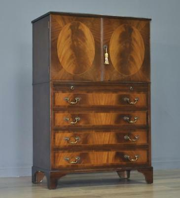 Attractive Tall Vintage Flame Mahogany Chest Of Drawers Tallboy With Brush Slide