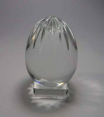 Baccarat Crystal Egg Paperweight Square Base