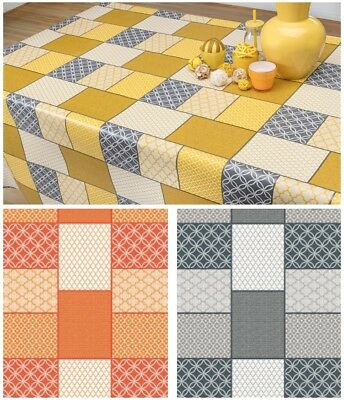 Pvc Table Cloth Patterned Tiles Mosaic Geo Floral Square Wipe Able Protector