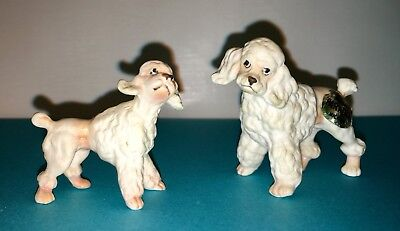 "2 - Ceramic White Poodle Figurines   1 3/4"" - 2"" Tall"