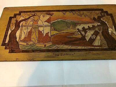 """Dibble Studios """"Old California"""", # 359, Wood Burning Plaque by Harry A Ungar"""