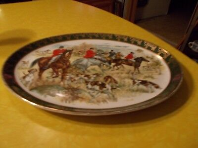 """Porcelain Fox Hunting Platter,  Made in England for Brooks Brothers 9"""" by 12"""""""