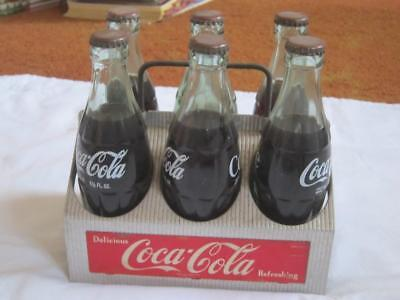 Vintage Coca Cola Six Pack Carrier w/ 6 Original Vintage Coke Bottles Full