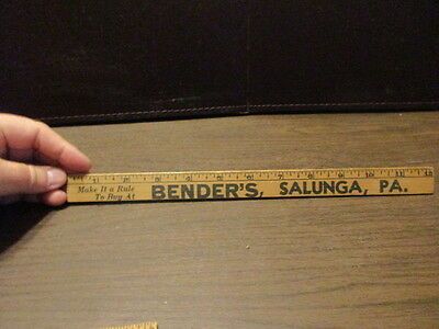 Vintage Wooden Advertising Ruler - Bender's - Salunga, PA - Lancaster County