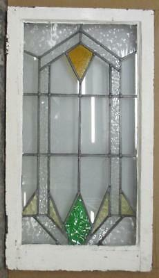 "LARGE OLD ENGLISH LEADED STAINED GLASS WINDOW Geometric Abstract 20"" x 35.75"""