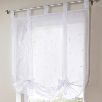 Floral Pattern Roman Curtains White Sheer Voile Window Shade Blind 140x140cm