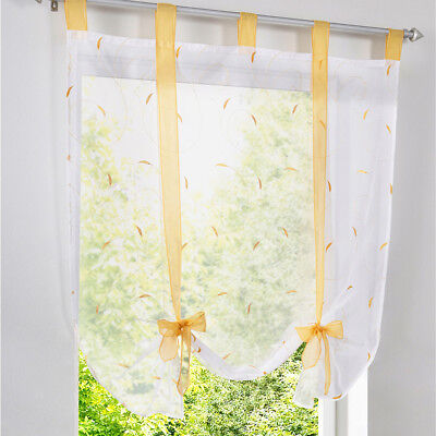 Floral Pattern Roman Curtains Yellow Voile Window Shade Blinds 140x140cm