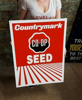 Vintage Co Op Country Mark Feed Farm AG Seed Sign Advertising Co-Op