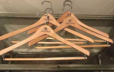 4 Vintage Brooks Brothers 1818 Wooden Light Brown Dress Coat Suit Hangers  Rare