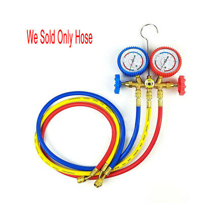"1.5M 1/4 ""SAE R134A Refrigerant Recharge Hose Can Tap + Gauge With Brass Fitting"